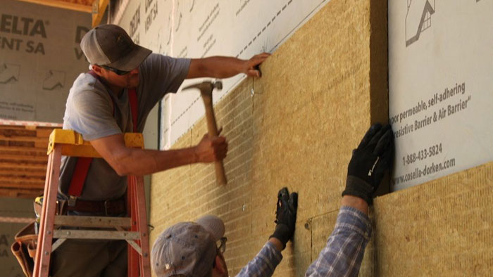 installing exterior mineral-wool insulation