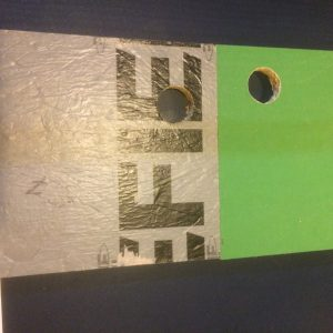 The photo shows the two horizontal panels used in the wetting and perpendicular pull test.