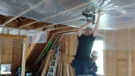 install plastic sheeting ceiling