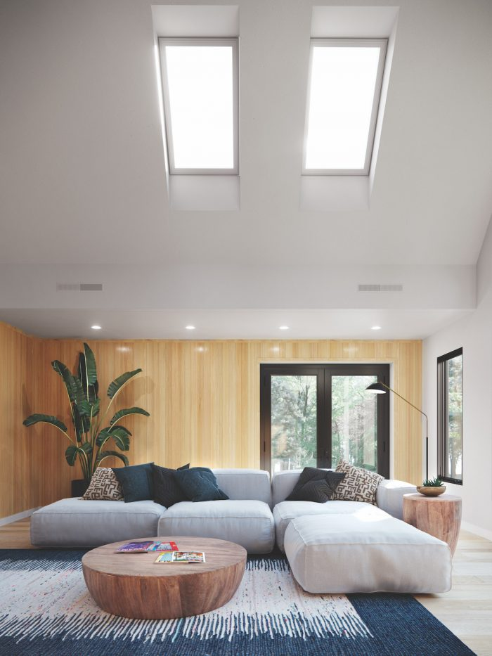 Awaken skylight above a room with a couch