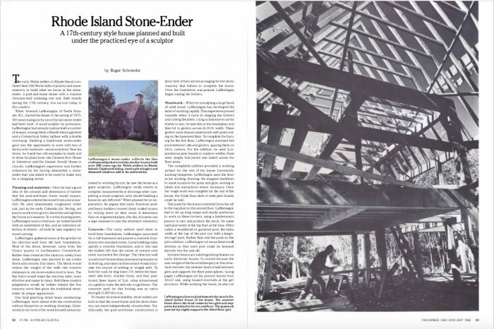 """First two pages of FHB's issue #6 article on an East Coast timber-and-stone house, known as a """"Stone Ender"""" for its massive chimney taking up one of the gable walls."""