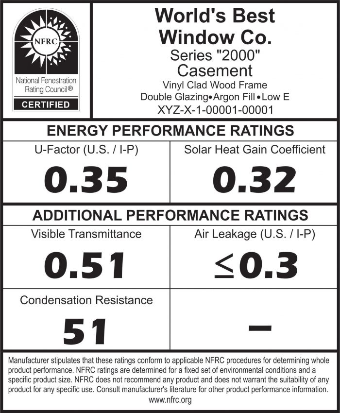 National Fenestration Ratings Council (NFRC) label