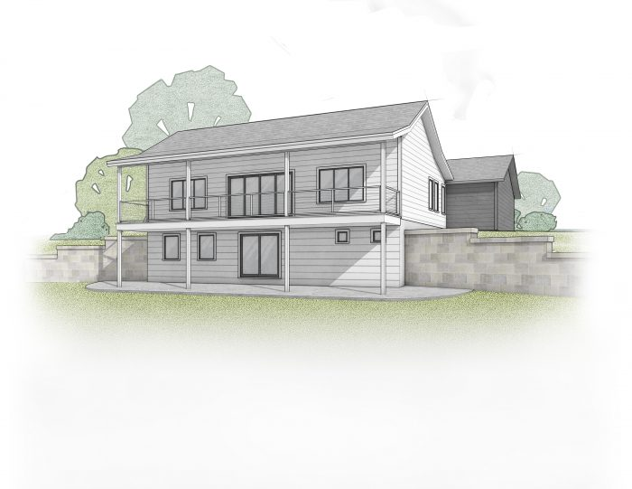 Rendering of a white farmhouse with back trim