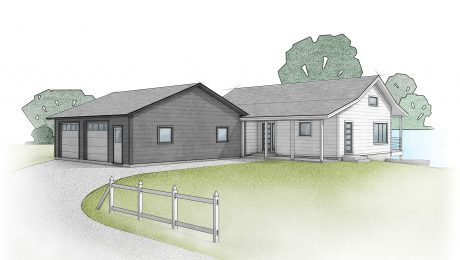 Rendering of a white farmhouse with a black garage