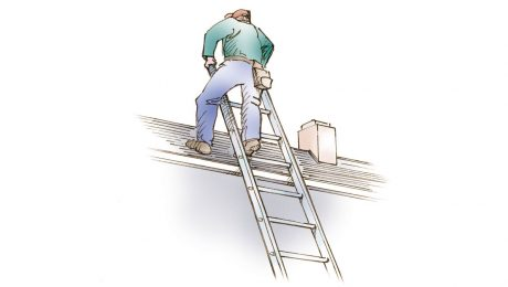 A drawing of a person climbing onto a roof from a ladder