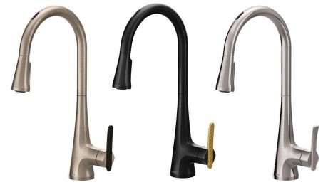 3 Moen faucets in blacl, silver, and brass