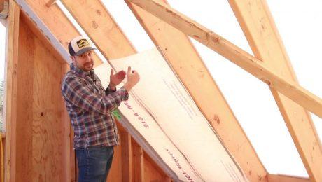 Josh Salinger demonstrates a plastic-free roof ventilation