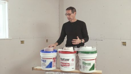 Myron with a display of different drywall tape