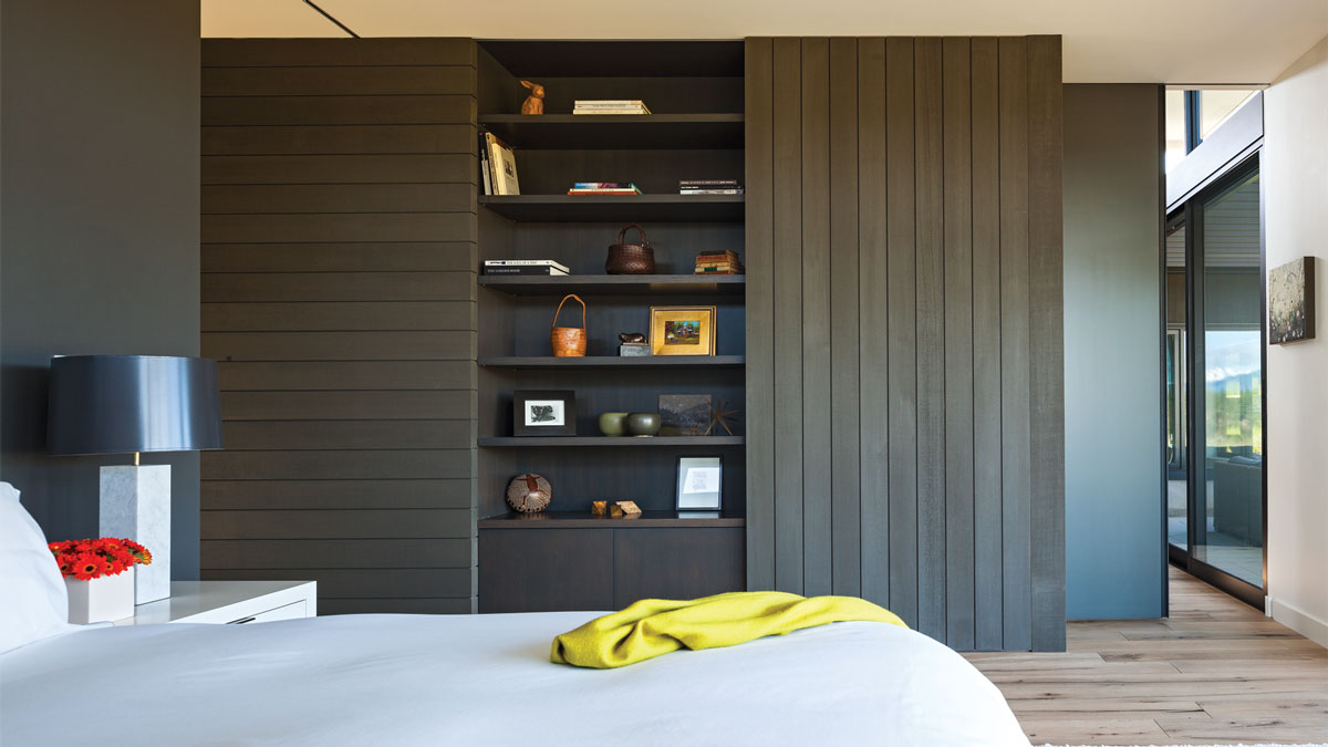 bedroom view of shelves