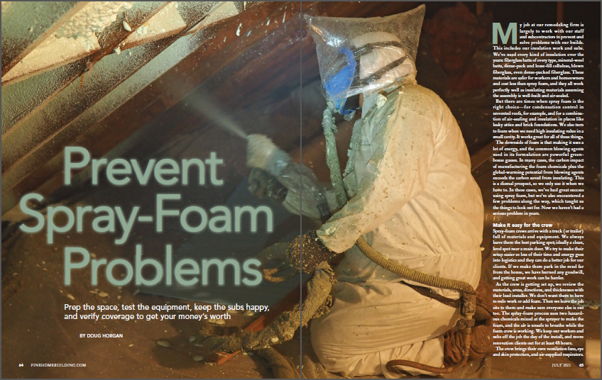 Prevent Spray-Foam Problems Article Front Cover