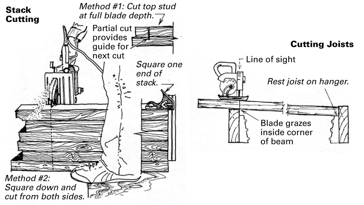 stack cutting and cutting joists with a circular saw