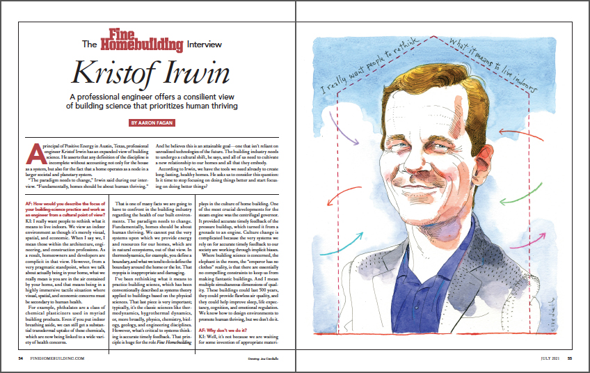 The Fine Homebuilding Interview: Kristof Irwin spread
