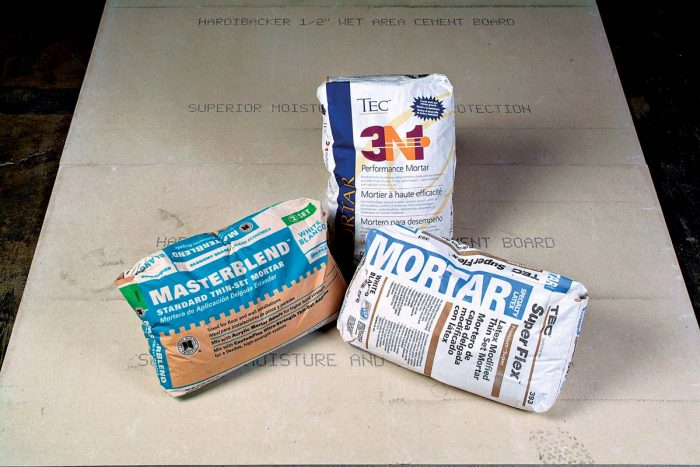 Thinset mortars are the main adhesive for tile installations.