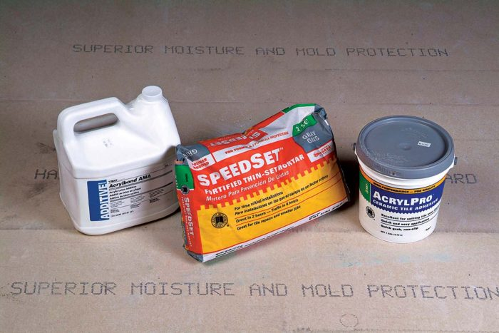 Specialty items for adhesion. Some will save you time and improve the installation. Always heed the instructions for open time and other cautions.