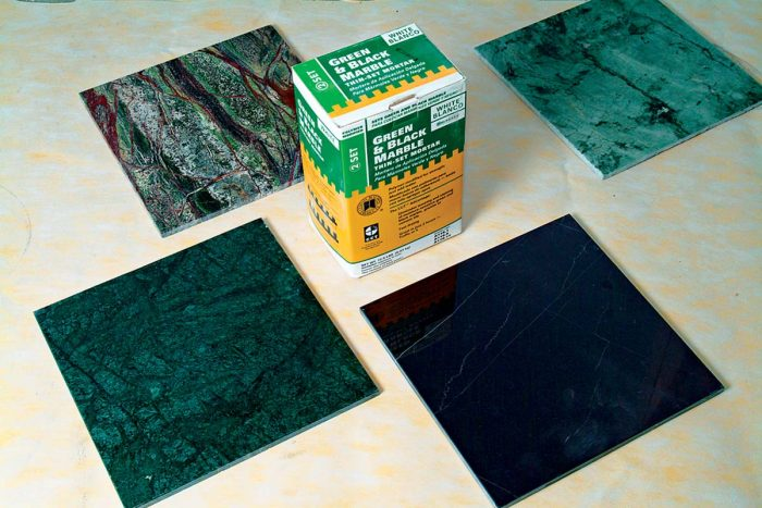 Marble tiles (green, red, and black) require their own special adhesive. Other adhesives cause these marbles to curl at the edges.