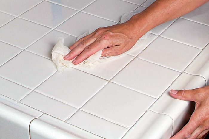 Nonsanded grout is used for narrow joints like these. Narrow joints are easier to clean and good for countertop installations.