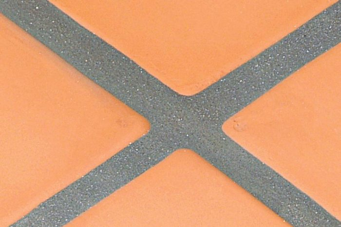 Sanded grouts are used for wide joints, especially for terra- cotta pavers.
