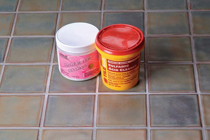 Sulfamic acid is an excellent choice for removing grout haze and efflorescence.