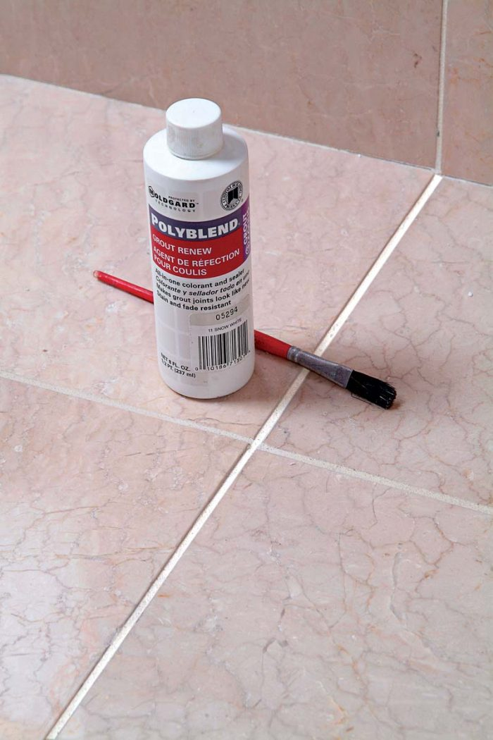 Grout recolorant is a paint that improves the look of old or dingy grout.