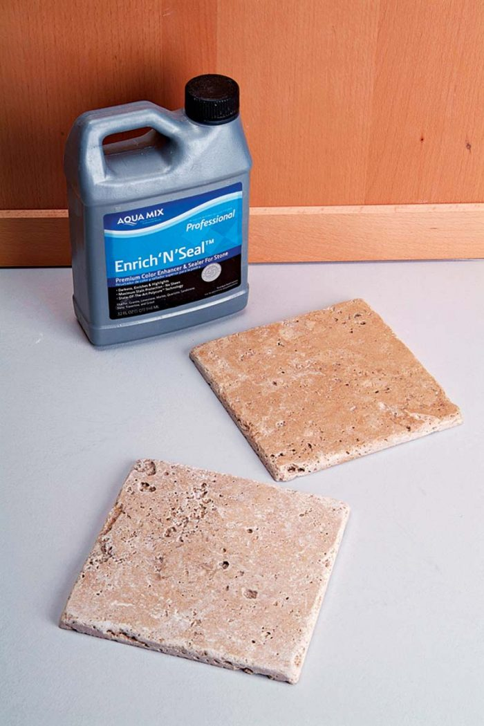 Stone enhancers enrich the color and beauty of natural stone. Top: Enhanced stone. Bottom: Natural finish.