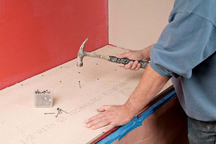Use special nails to secure backerboard.