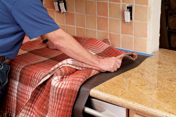 Cover countertops with towels or blankets for protection.