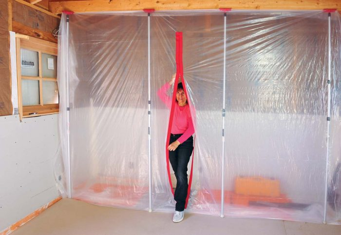 ZipWall dust barriers work by isolating the work area and the dust from the rest of a home or jobsite. The addition of a zipper allows you to keep the dust on the working side of the barrier as you enter or leave.