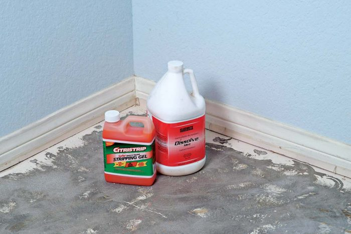 Chemical floor strippers make short work of removing glue and other debris from your floor to prepare for a new tile installation.