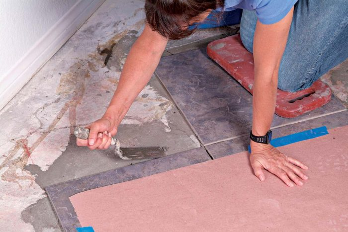 Clean up any dried thinset you may have left from the previous day before you attempt to fit the cut tiles.