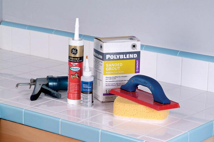 Be sure to assemble your tools and materials before you begin. Some of the things you'll need are a grout float and large new sponges.
