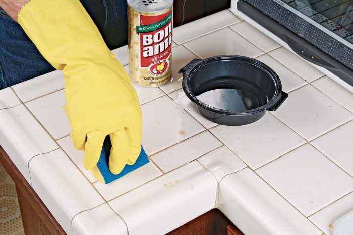 To remove grout stains or pot marks, sprinkle some Bon Ami® on a damp surface and scrub with a foam sponge.