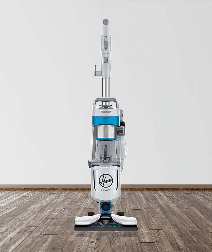 """Hoover React vacuums are designed for use on various floor types—from tile to wood or carpet—as they adjust to each type by """"reacting"""" automatically."""