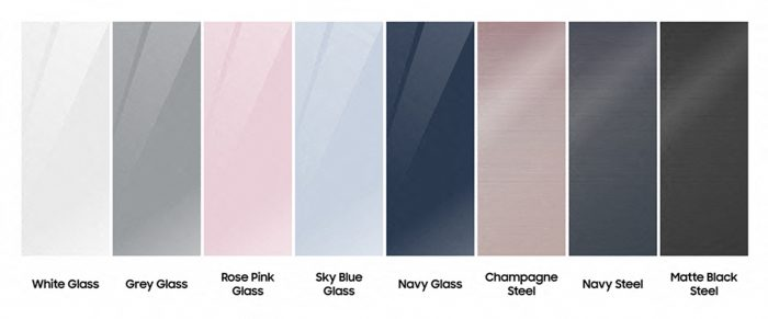 A color palette ranging with white, grey, blues, and pinks