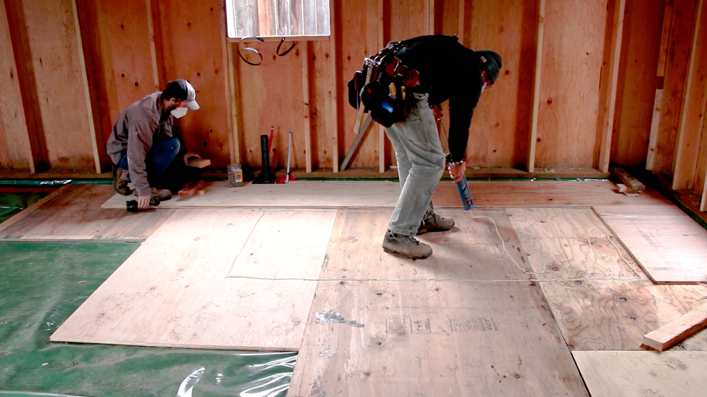 Concrete-free Floating Plywood Slab Assembly