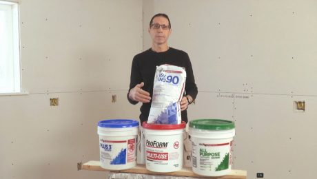 Myron displays a set of drywall compounds