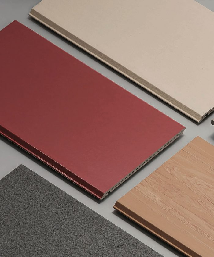 Red, gray, and beige ceramic tiles