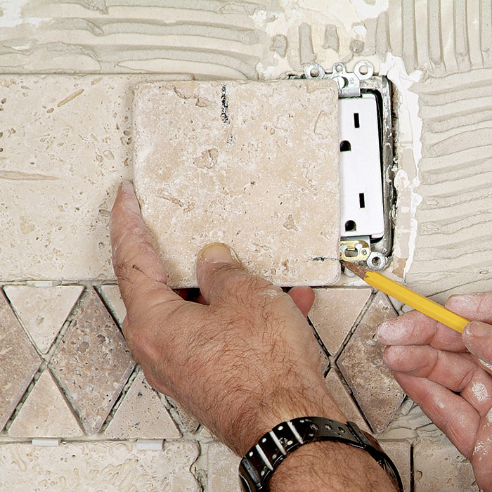 Line the tile up
