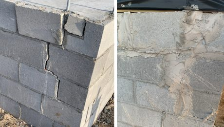 Before and after of damaged foundation