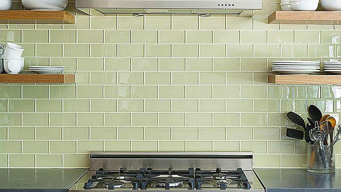green glass tile backsplash