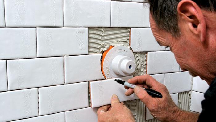fit tile around shower valve