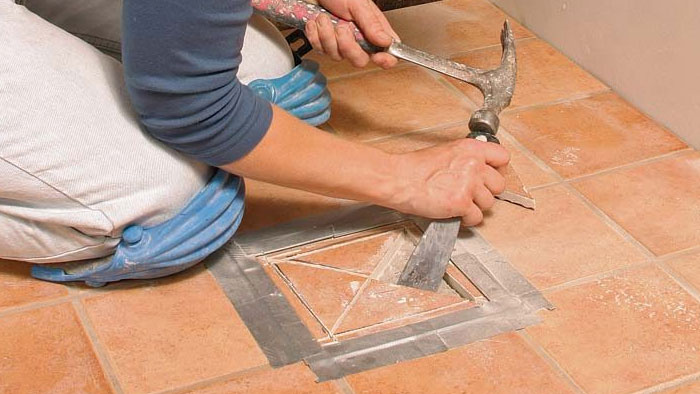 removing broken tile