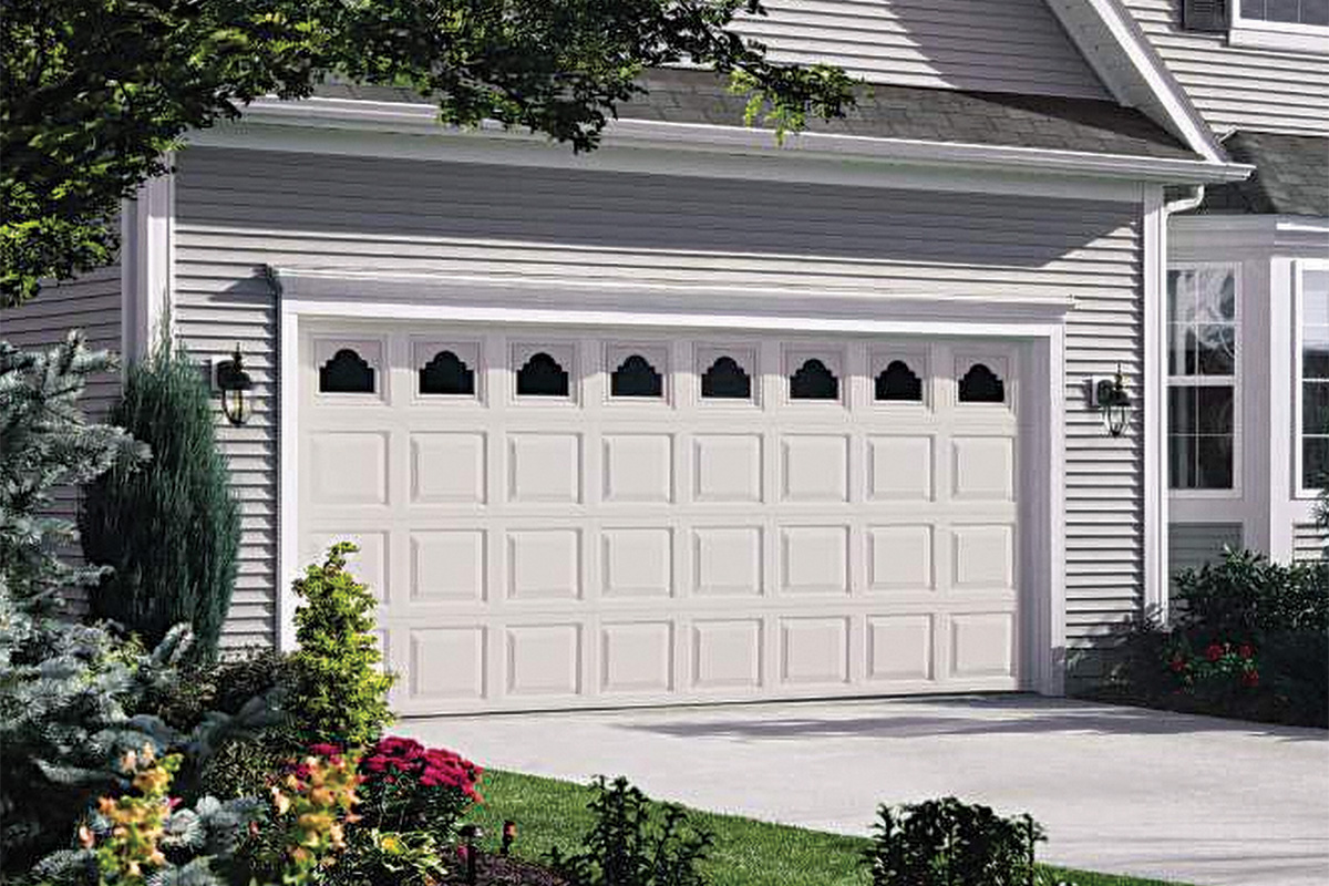 white yinyl garage door