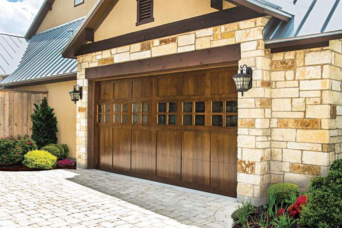 dark wood garage door