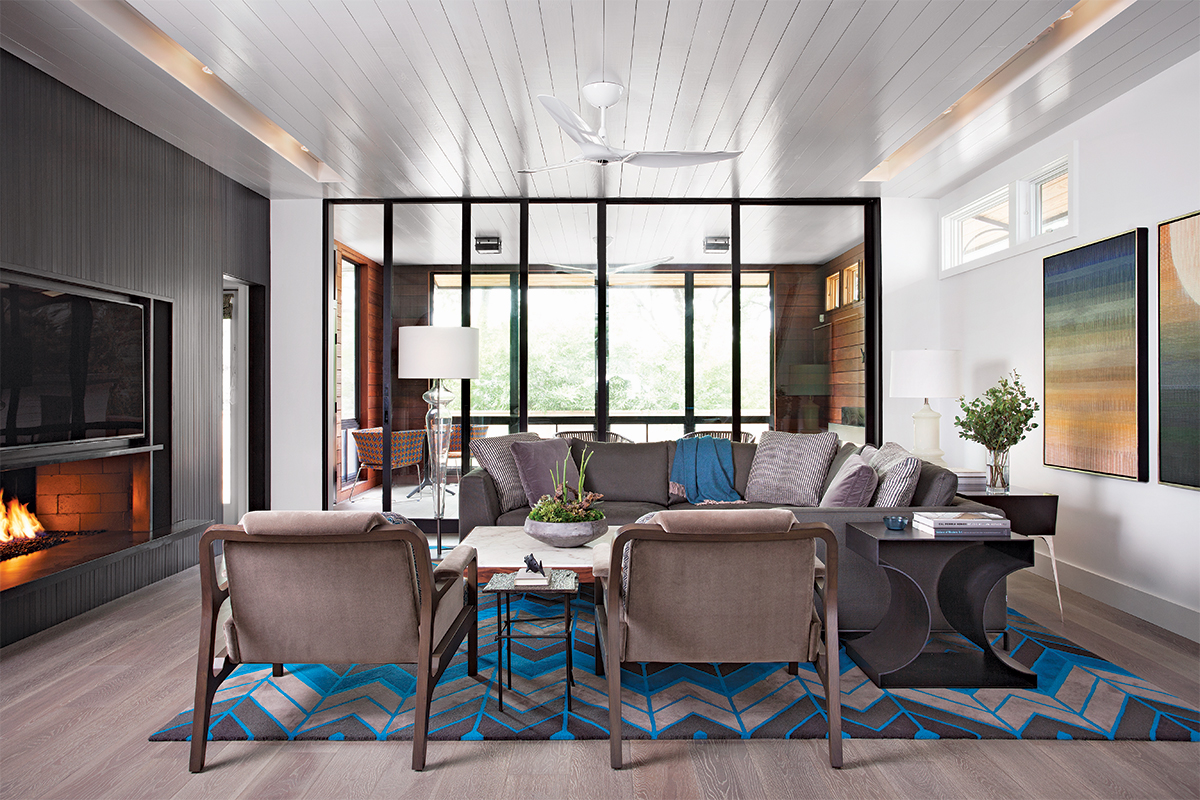 Shaded clerestory windows in living room
