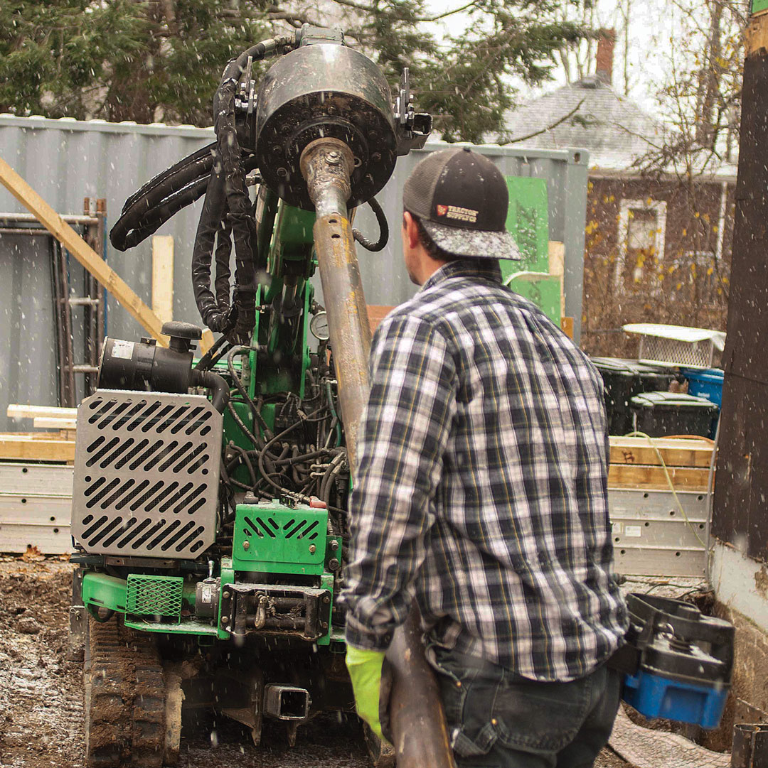 Pile driver Helical piers are installed with a hydraulic machine that screws the pier into the ground. For most residential jobs, a small machine can be used, which makes site access possible for many applications.