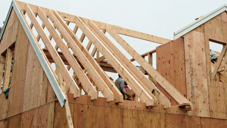 Image of roof-framing in process