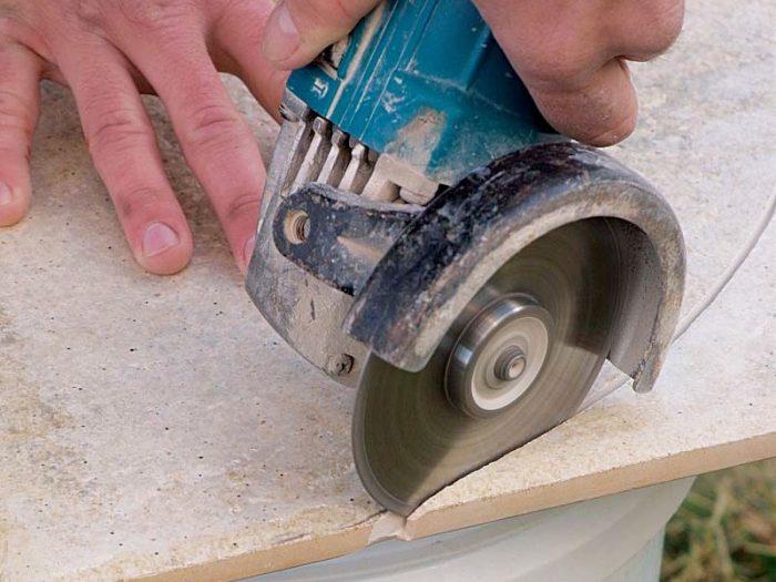 angle grinder cutting tile
