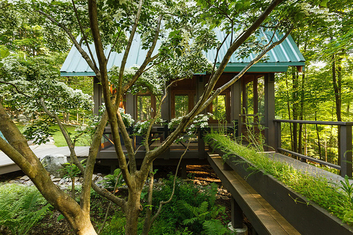An outdoor modern gazebo surrounded by trees