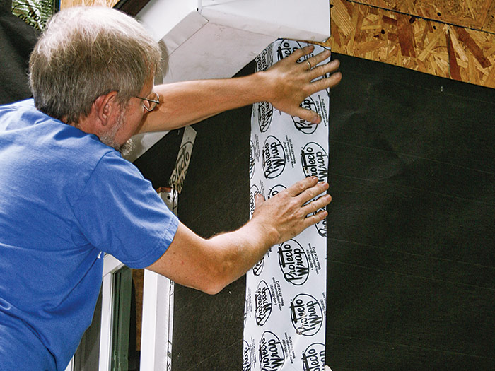 Back up corners with membrane