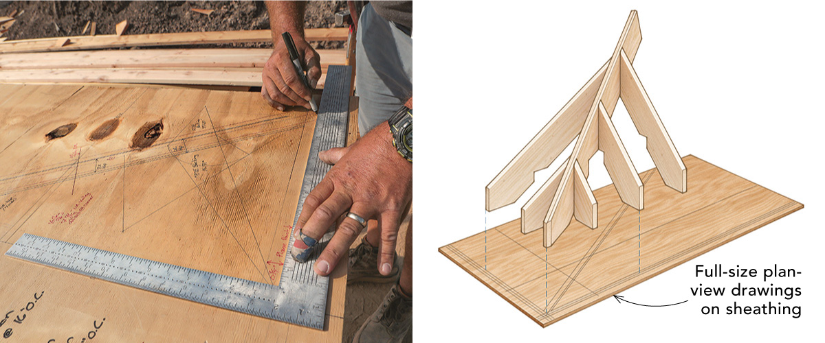 drawing a plan for irregular rafters